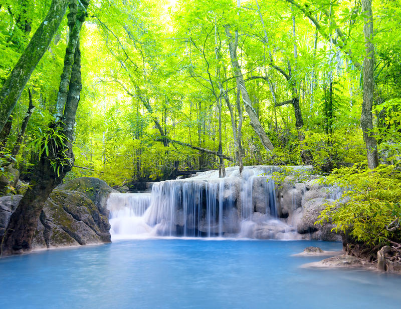Erawan waterfall in Thailand. Beautiful nature stock photography