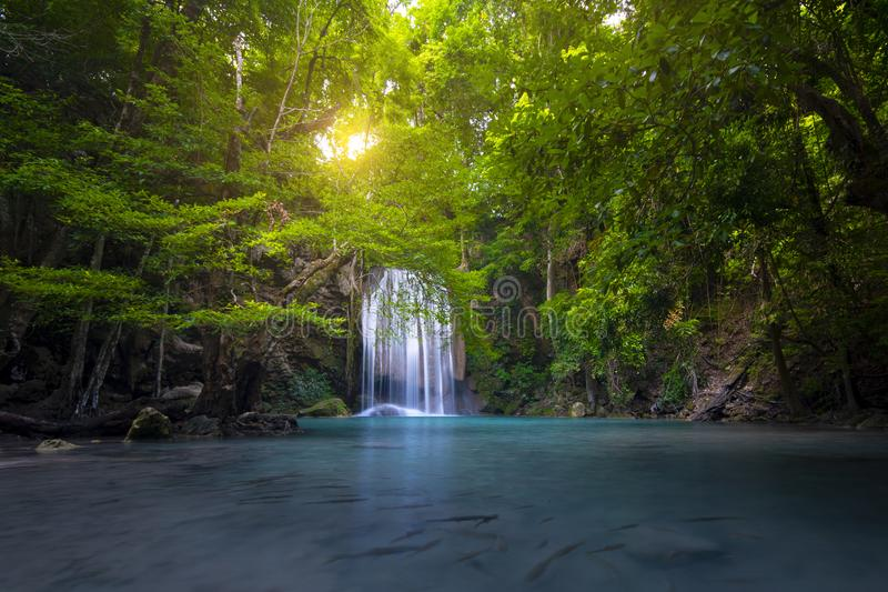Erawan waterfalls at third floor during rainy season in Kanchanaburi royalty free stock photo