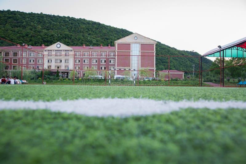 Erba artificiale di Mini Football Goal On An Dentro del campo di football americano dell'interno immagini stock libere da diritti