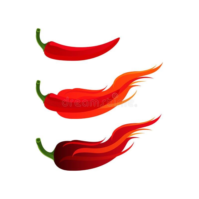 Erba calda e piccante dei peperoncini rossi con il vettore dell'ustione del fuoco royalty illustrazione gratis