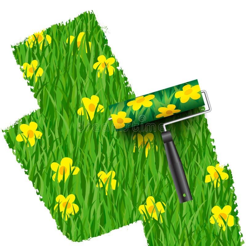 Erba con il fondo dei fiori dipinto dal rullo illustrazione di stock