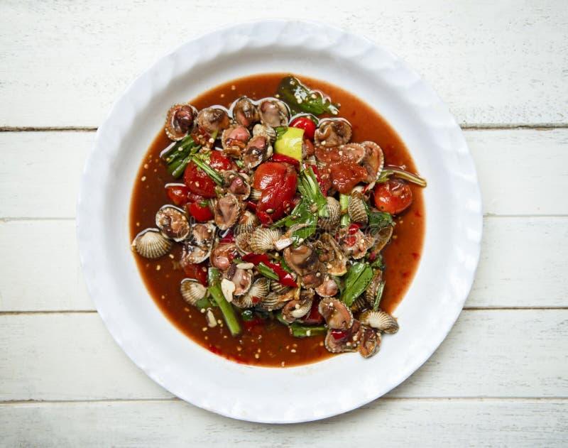 Erba di verdure del pomodoro dei crostacei del sangue dei cuori edule dell'insalata del preparato caldo e piccante dell'insalata  fotografia stock