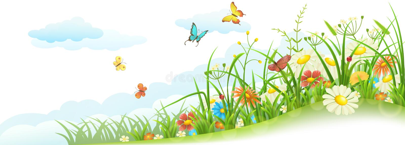 Erba e fiori della sorgente illustrazione vettoriale