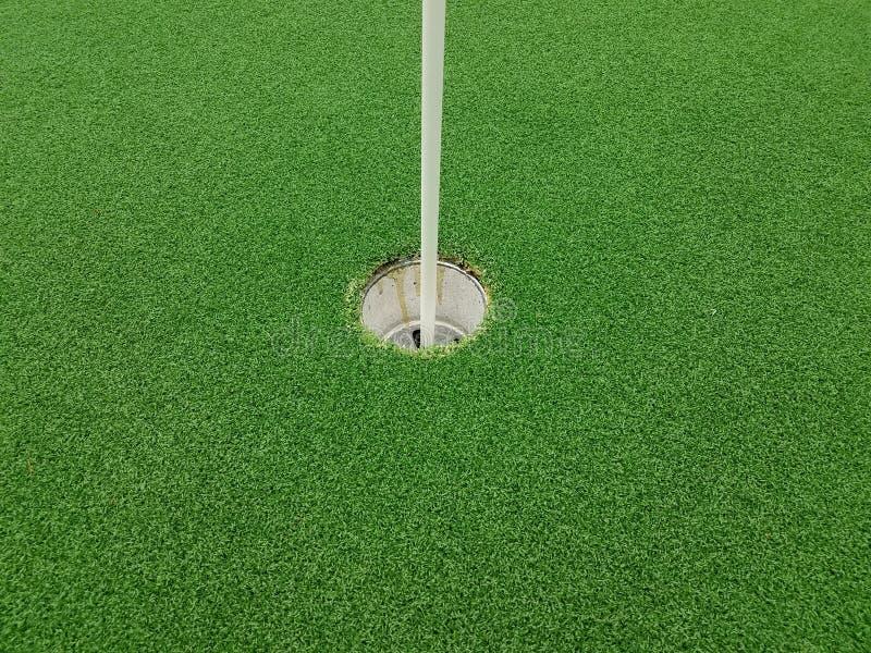 Erba e foro artificiali verdi con l'asta della bandiera sul campo da golf miniatura immagine stock libera da diritti