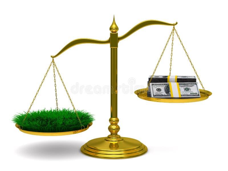 Erba e soldi sulle scale. 3D isolato illustrazione vettoriale