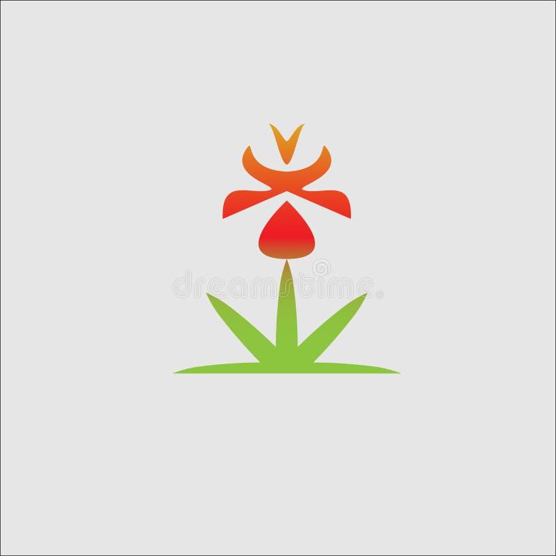 Erba il logo naturale della molla del sole del fiore, progettazione di simbolo dell'ecologia illustrazione di stock
