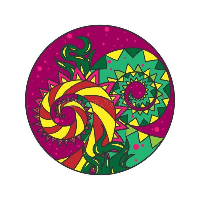 Erba irreale di colore su fondo viola - racconto del drago illustrazione di stock