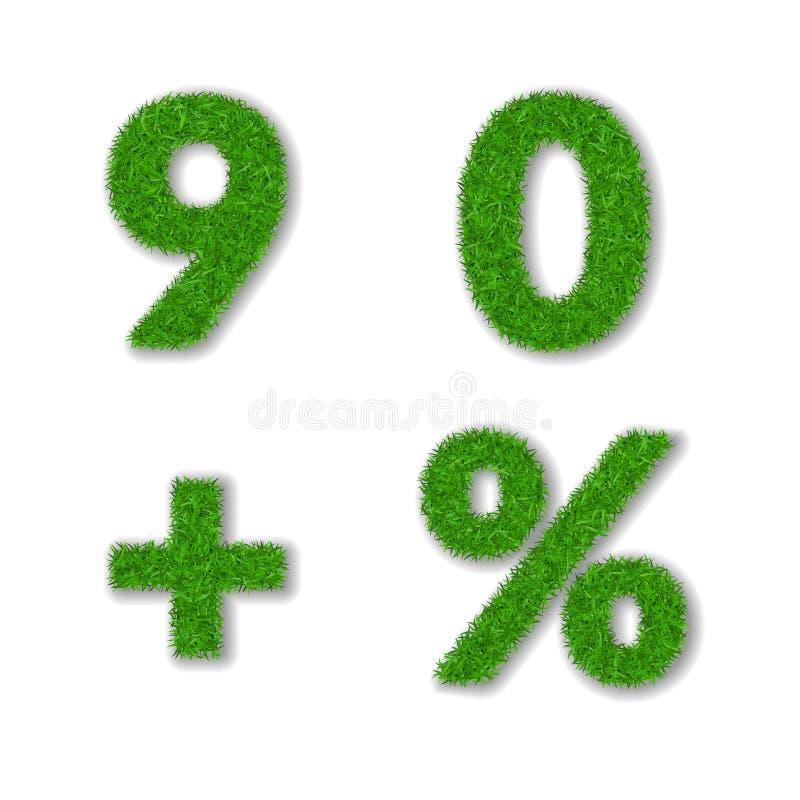 Erba le percentuali, nove, zero, più l'insieme 3D E r illustrazione vettoriale