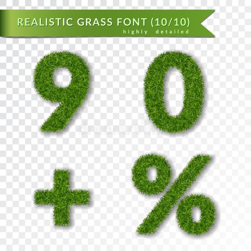 Erba le percentuali, nove, zero, più l'insieme Simboli verdi, isolati su fondo trasparente bianco Numeri dell'erba verde 3D illustrazione vettoriale