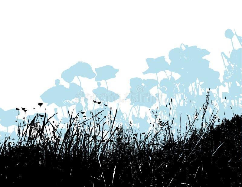 Erba nera con i fiori blu-chiaro del papavero. Vettore royalty illustrazione gratis