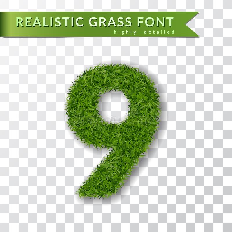 Erba numero nove Numero verde 9, isolato su fondo trasparente bianco Erba verde 3D nove, simbolo fresco della natura illustrazione di stock