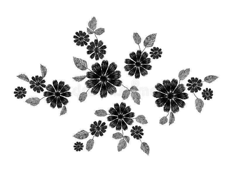 Erba selvaggia del pizzo del ricamo rami floreali bianchi del modello dei piccoli con poco fiore viola blu del campo Tradizionale illustrazione vettoriale
