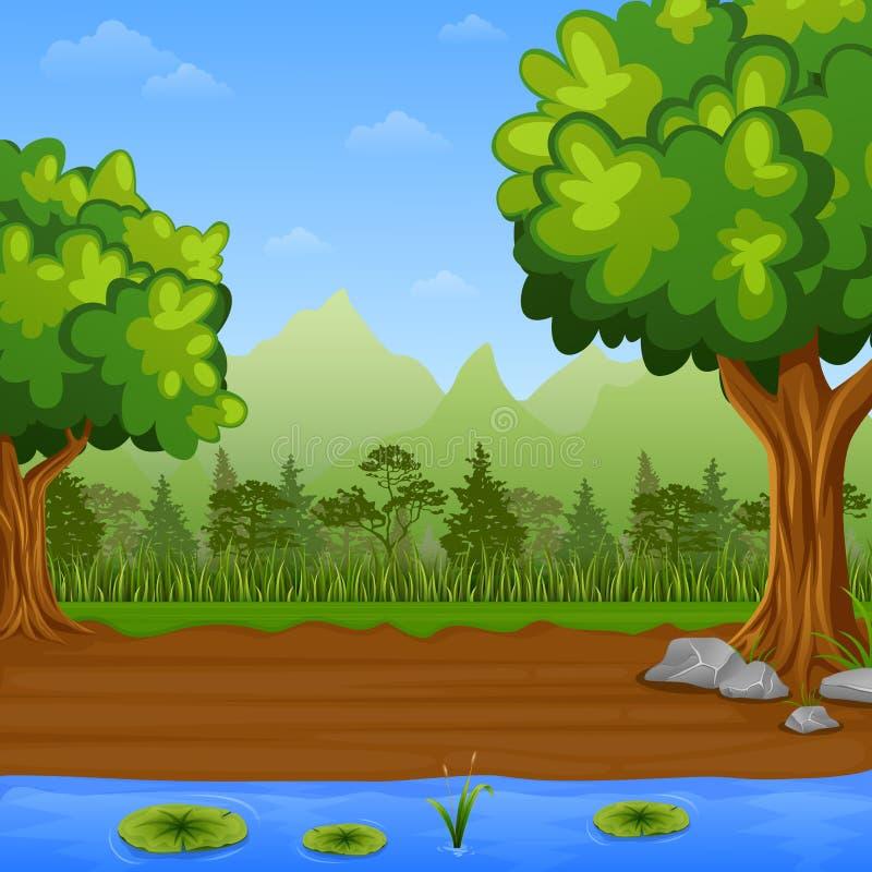 Erba verde con i pini e lago blu su un fondo delle montagne royalty illustrazione gratis