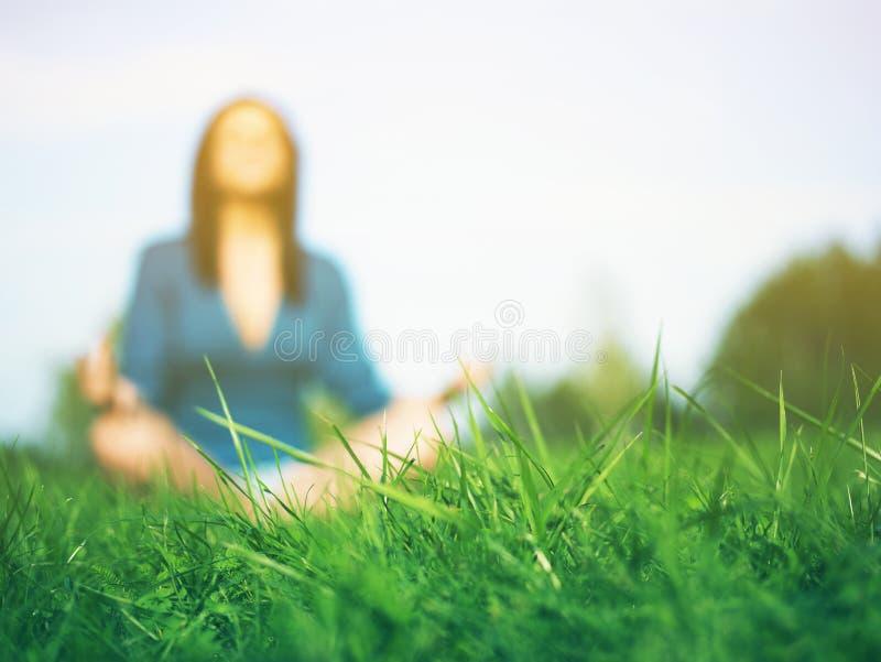 Erba verde - yoga di pratica della donna nella priorità bassa fotografia stock libera da diritti