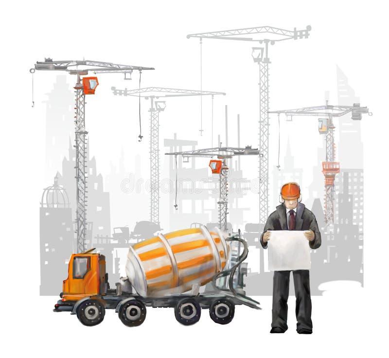 Erbauer auf der Baustelle Industrielle Illustration mit Arbeitskräften, Kränen und Mischermaschine vektor abbildung