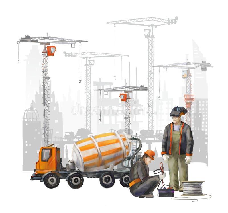 Erbauer auf der Baustelle Industrielle Illustration mit Arbeitskräften, Kränen und Mischermaschine stock abbildung