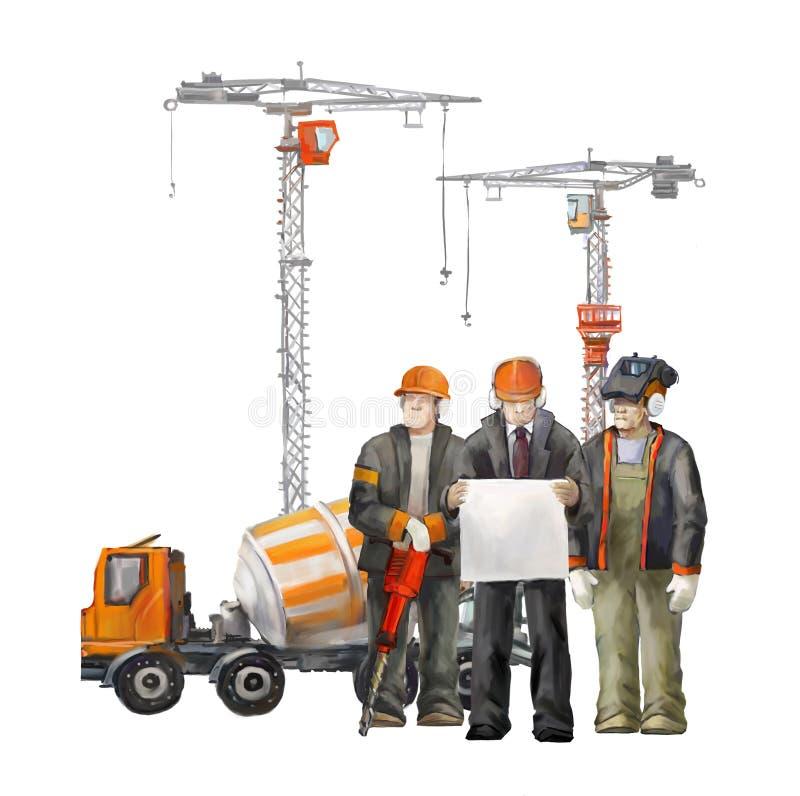 Erbauer auf der Baustelle Industrielle Illustration mit Arbeitskräften, Kränen und Mischermaschine lizenzfreie abbildung