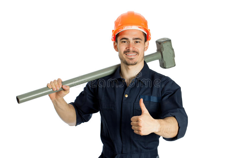 Erbauer mit dem Hammer lokalisiert auf weißem Hintergrund stockfotografie