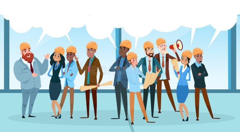 Erbauer-Team Architect Mix Race Workers-Chat-Kommunikations-Blase, die Soziales Netz besprechend spricht lizenzfreie abbildung