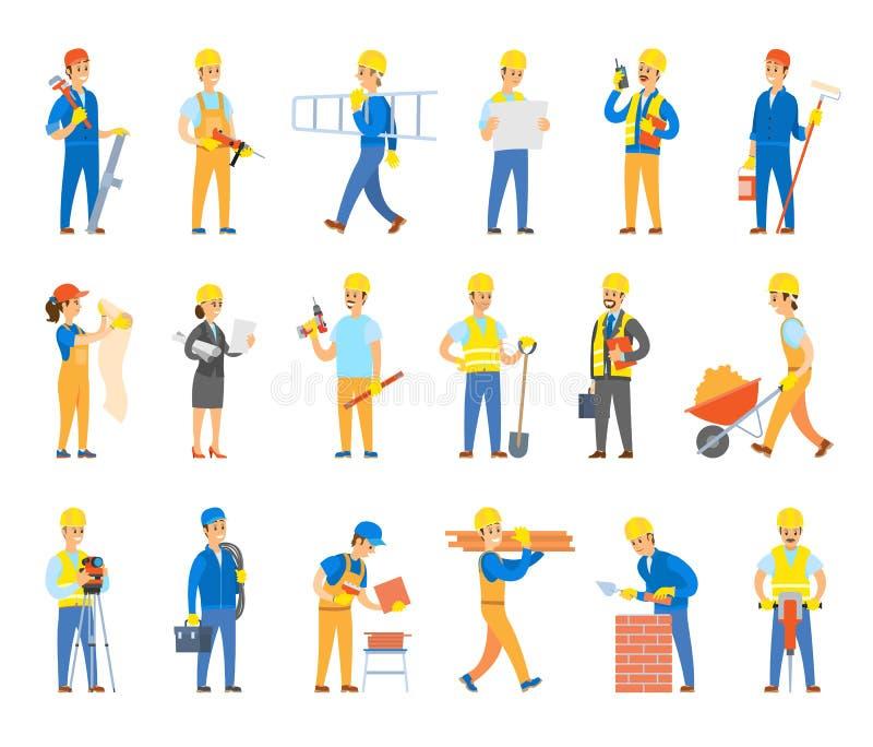 Erbauer und Ingenieure mit Werkzeugen und Ziegelstein-Satz lizenzfreie abbildung