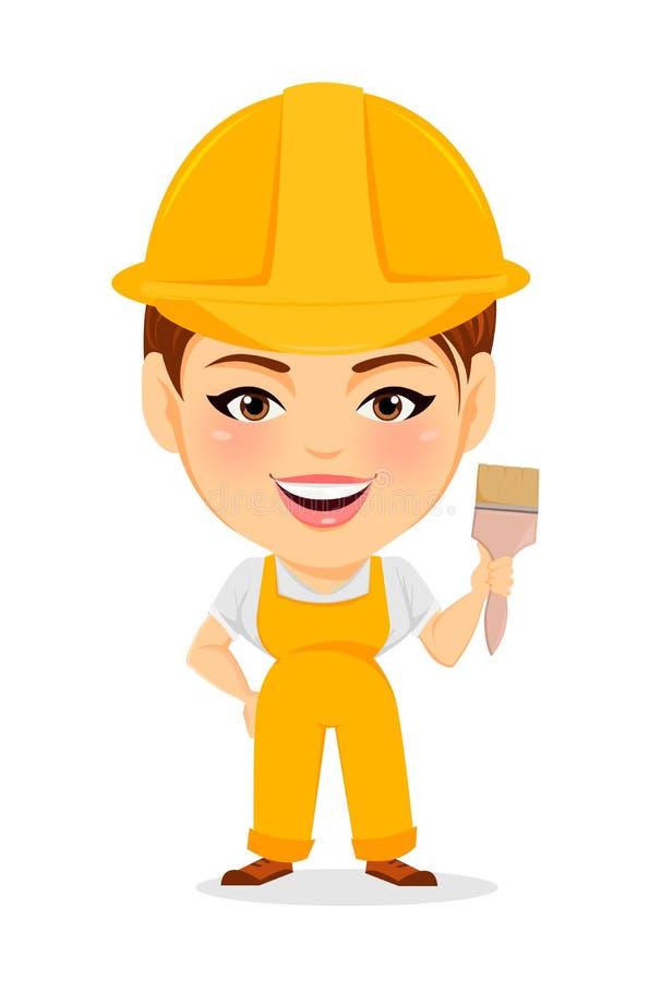 Erbauer Woman Lustige Arbeitnehmerin mit dem Großkopf, der Malerpinsel hält stock abbildung