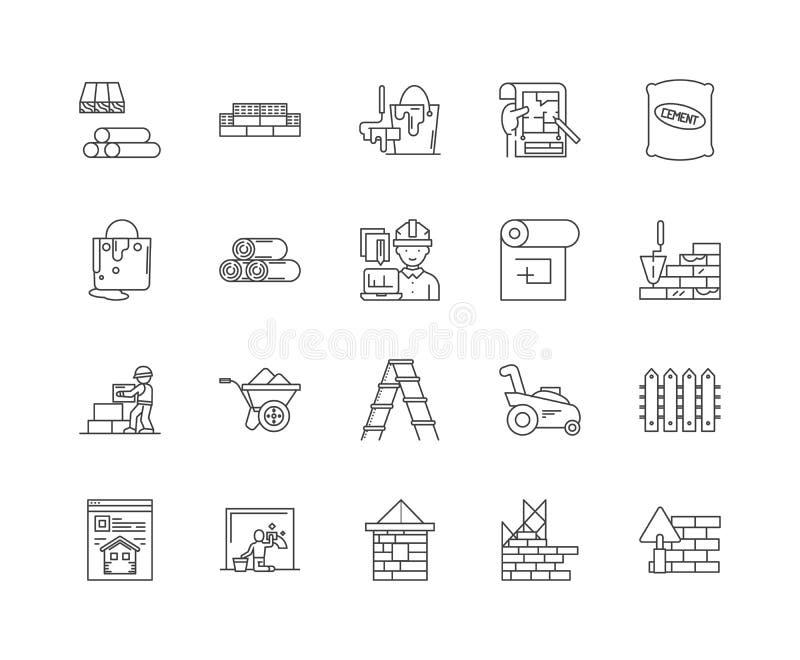 Erbauerkaufleute zeichnen Ikonen, Zeichen, Vektorsatz, Entwurfsillustrationskonzept stock abbildung