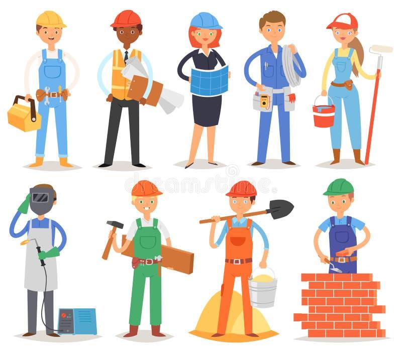 Erbauervektorerbauerleutecharakter-Hochbau für newbuild Illustrationssatz der Arbeitskraft oder des Auftragnehmers lizenzfreie abbildung