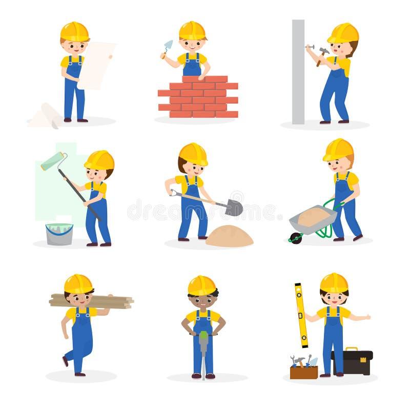 Erbauervektorzeichentrickfilm-figur-Erbauer-Hochbau für newbuild Illustrationsarbeitskraft oder -auftragnehmer vektor abbildung