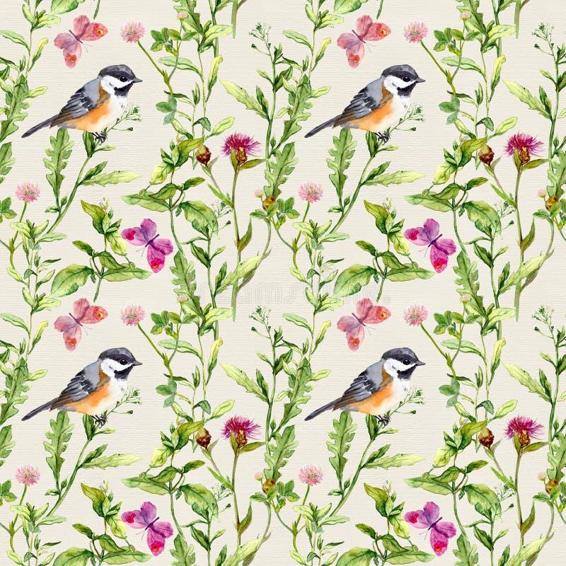 Erbe del prato, fiori, farfalle, uccelli Modello ripetuto Colore di acqua royalty illustrazione gratis