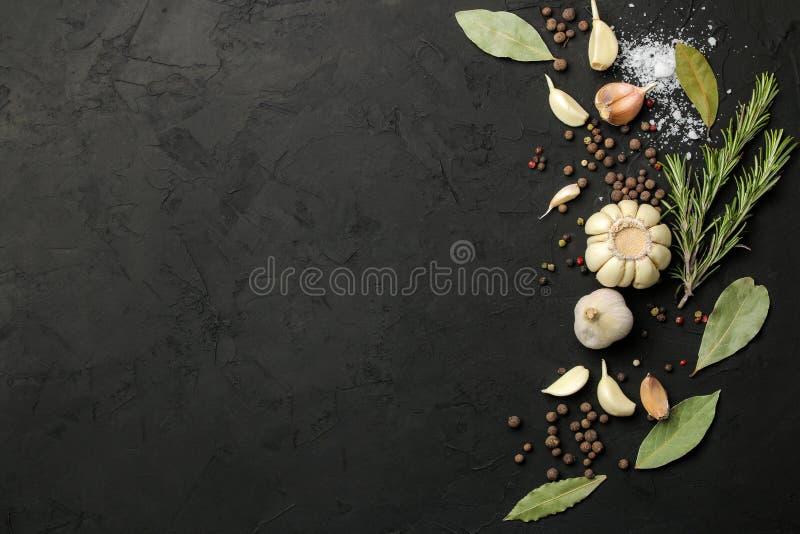 Erbe e spezie vari condimenti, erbe e spezie su un fondo del nero della grafite Vista superiore Posto per testo Spazio libero immagine stock libera da diritti