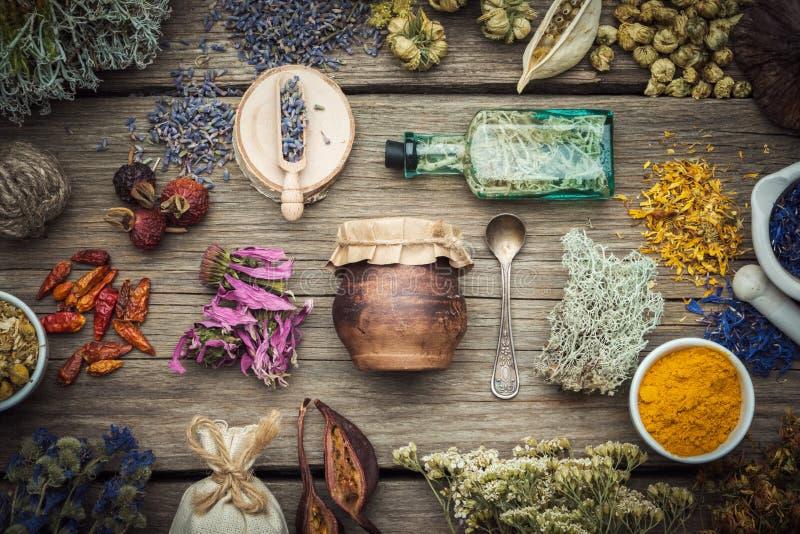Erbe medicinali asciutte, piante, radici, ingredienti per la fabbricazione delle droghe della medicina di erbe, bottiglia dell'in fotografie stock libere da diritti