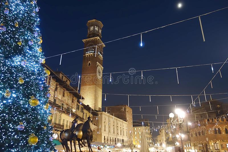 Erbe Square at Christmas stock images
