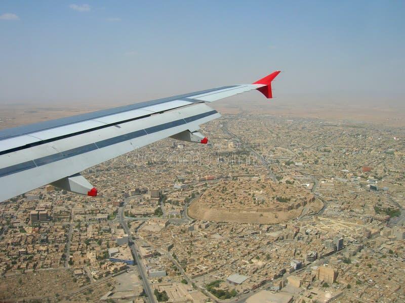 Erbil d'avvicinamento, Irak immagine stock