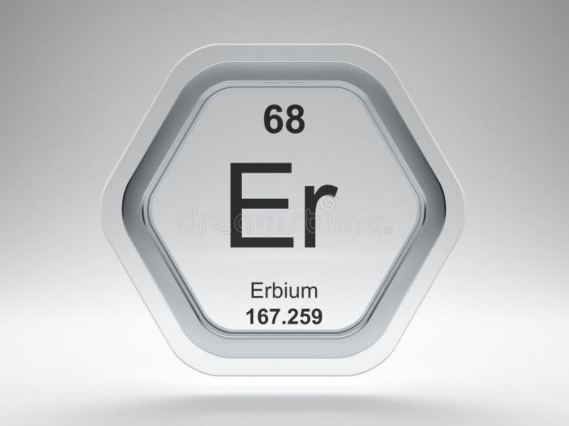 Erbium symbol hexagon frame vector illustration
