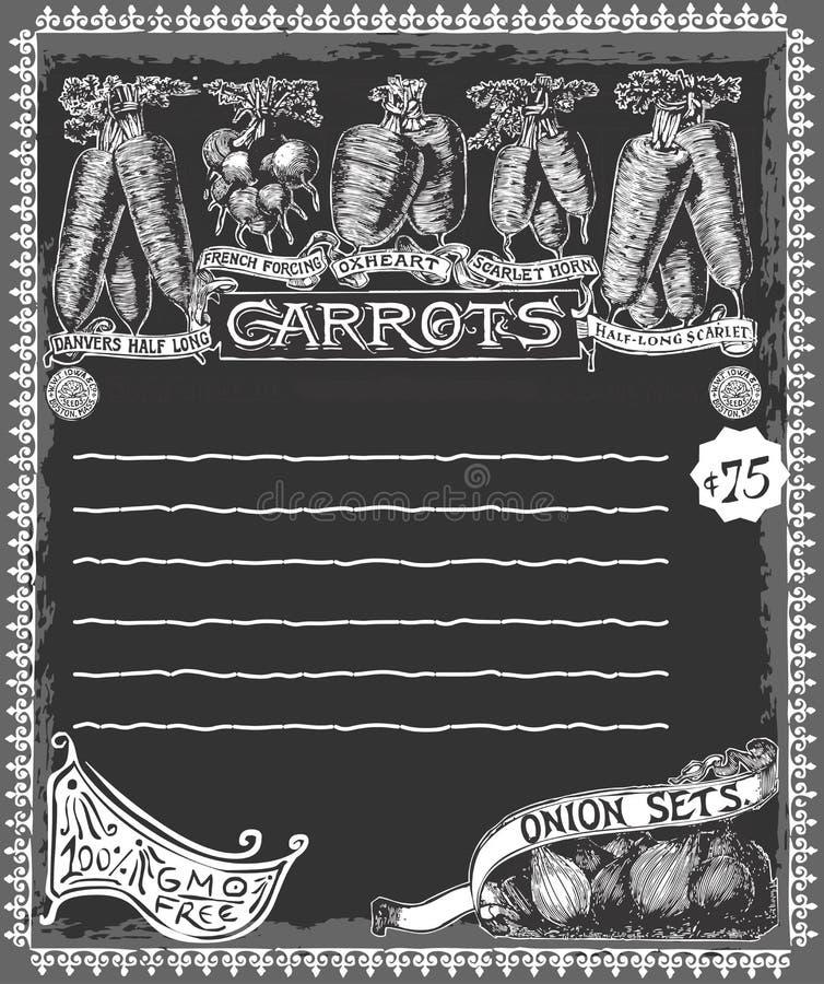 Erbivendolo - pubblicità d'annata della lavagna delle carote illustrazione di stock