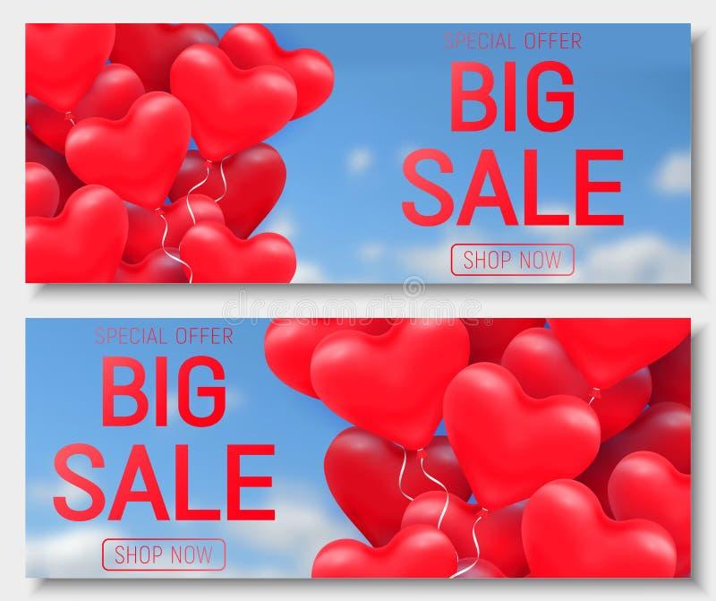 Erbjudande för försäljning för dag för valentin s stort, banermall Röd glansig ballong för hjärta 3d med text vektor illustrationer
