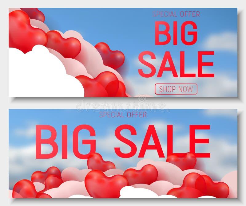 Erbjudande för försäljning för dag för valentin s stort, banermall Röd glansig ballong för hjärta 3d med text royaltyfri illustrationer