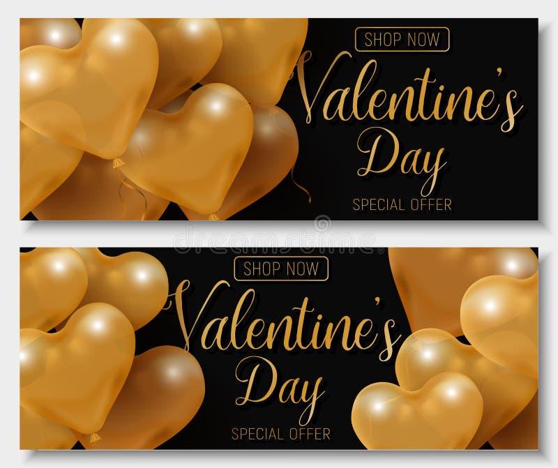 Erbjudande för försäljning för dag för valentin` s stort, modern modebanermall Glansig hjärtaballong för guld 3d med text royaltyfri illustrationer