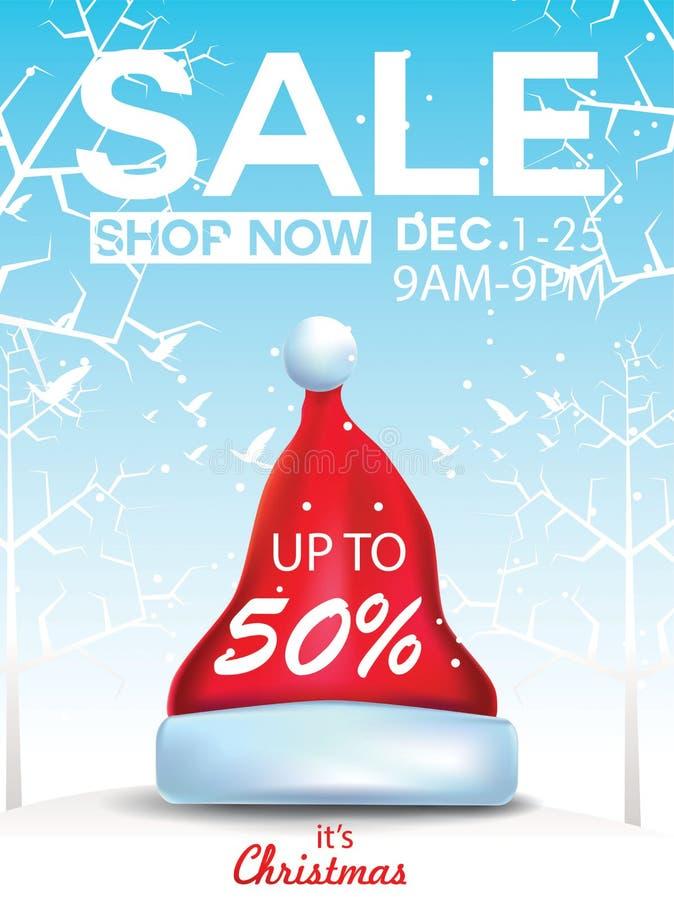 Erbjudande för julförsäljningsrabatt Tecknad filmjultomten hatt i skogsnöplatsen för befordranbaner för nytt år, titelrader, affi stock illustrationer