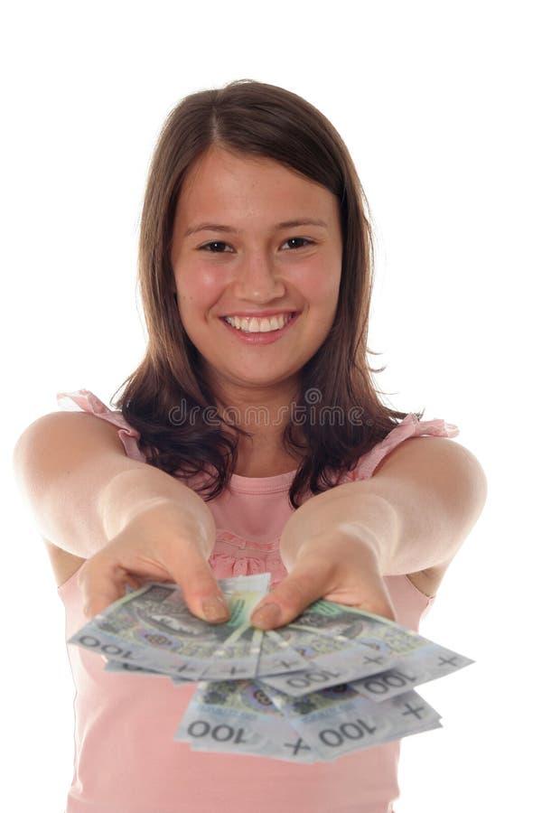 erbjudande kvinna för pengar arkivfoto