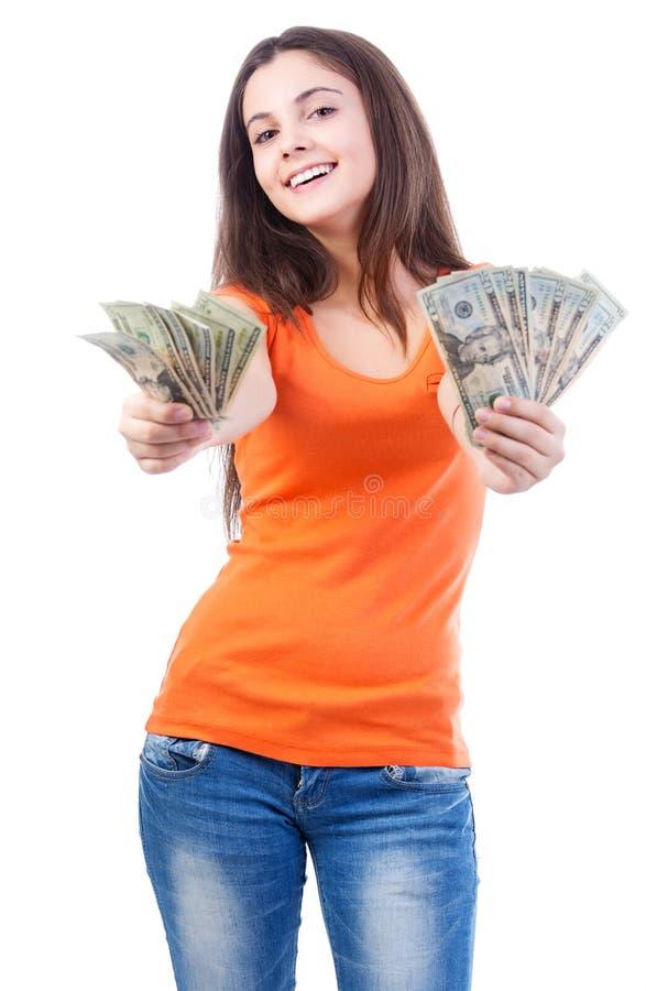 Erbjudande pengar för kvinna royaltyfria bilder