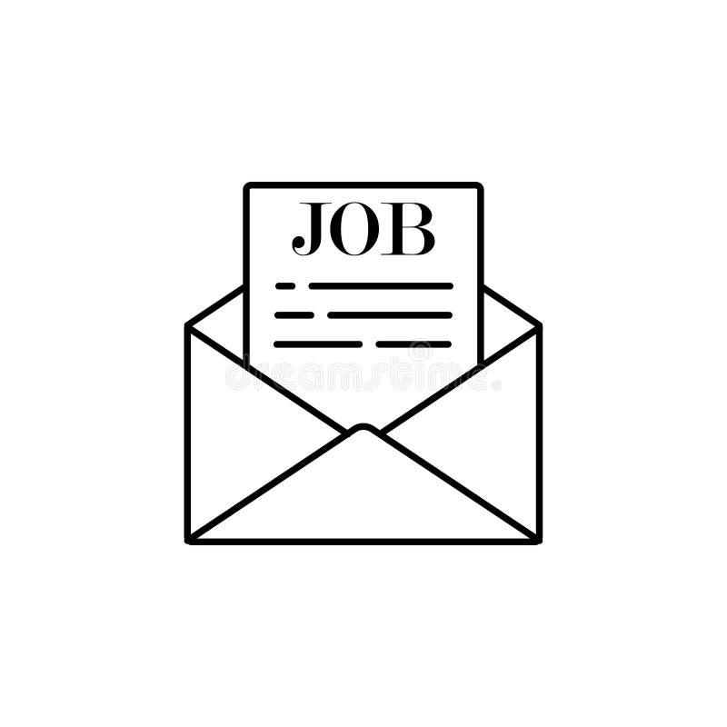 erbjudande som arbetar i kuvert Beståndsdel av symbolen för jobbintervju för mobila begrepps- och rengöringsdukapps Tunn linje er stock illustrationer