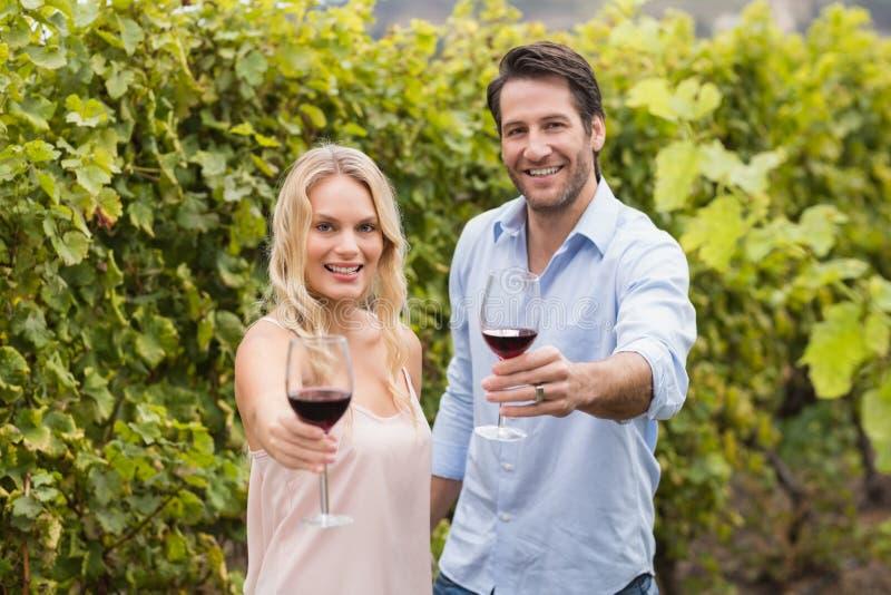 Erbjudande vin för unga lyckliga par royaltyfria foton