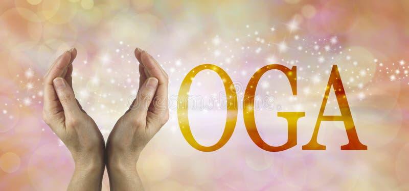 Erbjudande yogatitelrad royaltyfri bild