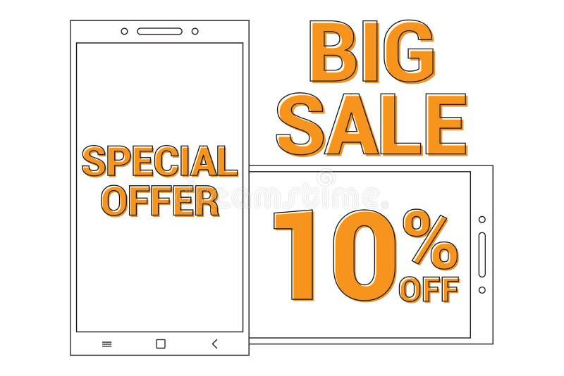 Erbjuder befordrings- banerbakgrund för den stora försäljningen med linjen den smarta telefonen för konst för speciala försäljnin vektor illustrationer