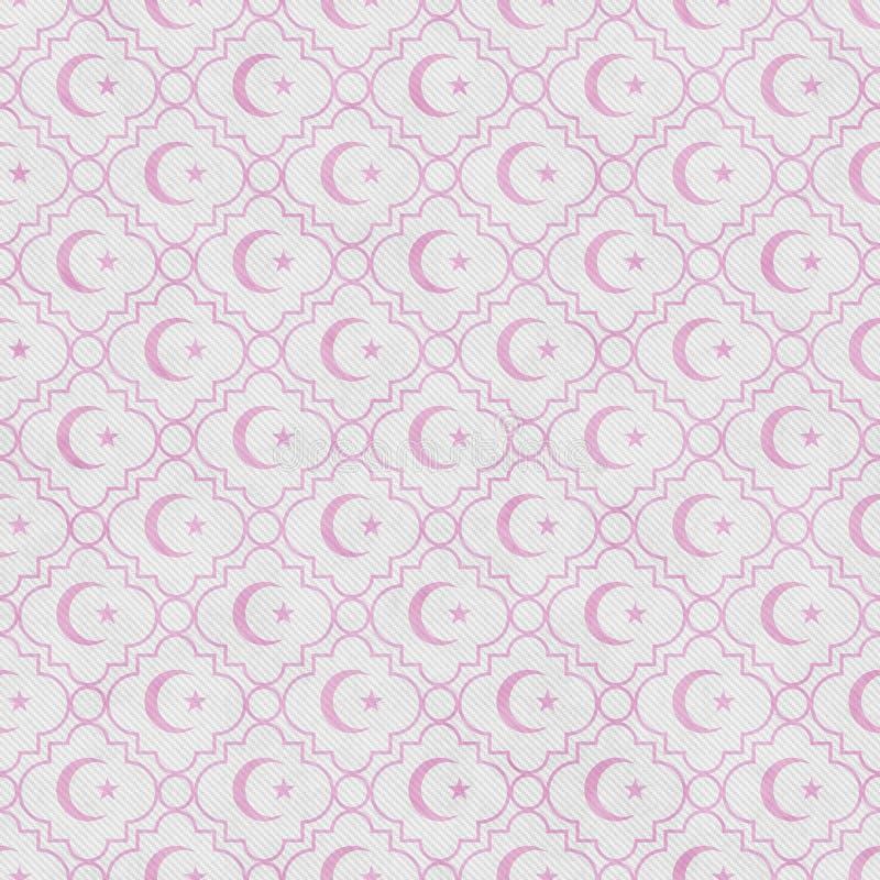 Erblassen Sie - Rosa und Weiß-Stern und Crescent Symbol Tile Pattern Repeat vektor abbildung