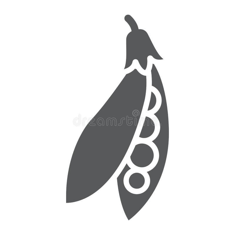 Erbsenhülse Glyphikone, Gemüse und Diät, Erbsen unterzeichnen vektor abbildung