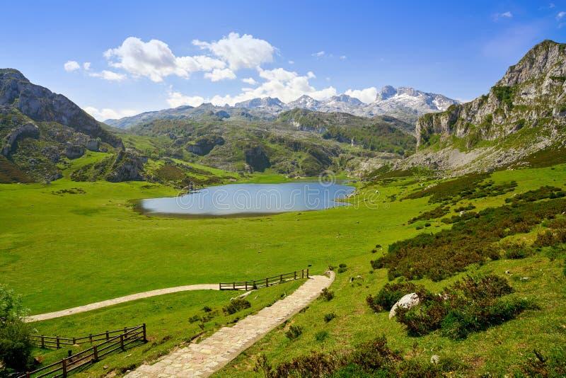 Ercina jezioro przy Picos De Europa w Asturias Hiszpania obraz royalty free