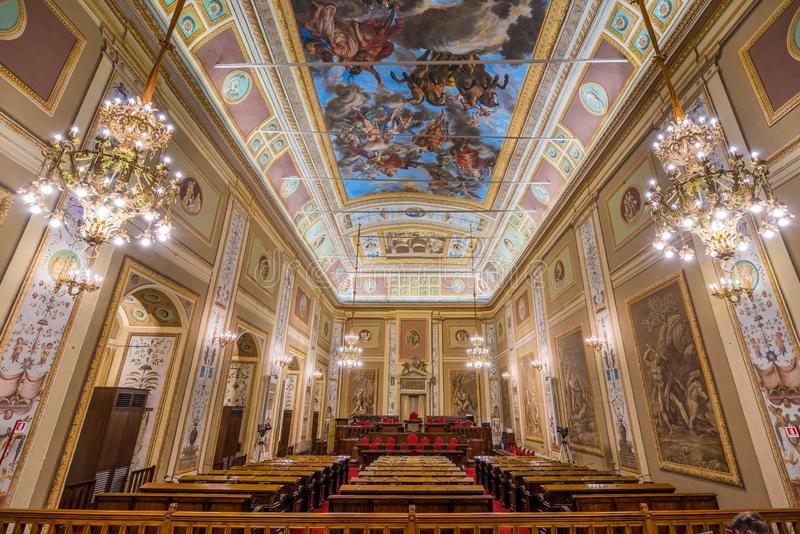 Ercoles rumSala d'Ercole i den Norman Palace Palazzo deien Normanni i Palermo italy sicily fotografering för bildbyråer