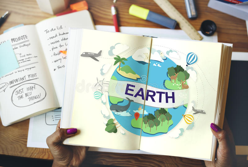 Erdökologie-Umwelt-Erhaltungs-Kugel-Konzept stockfotografie